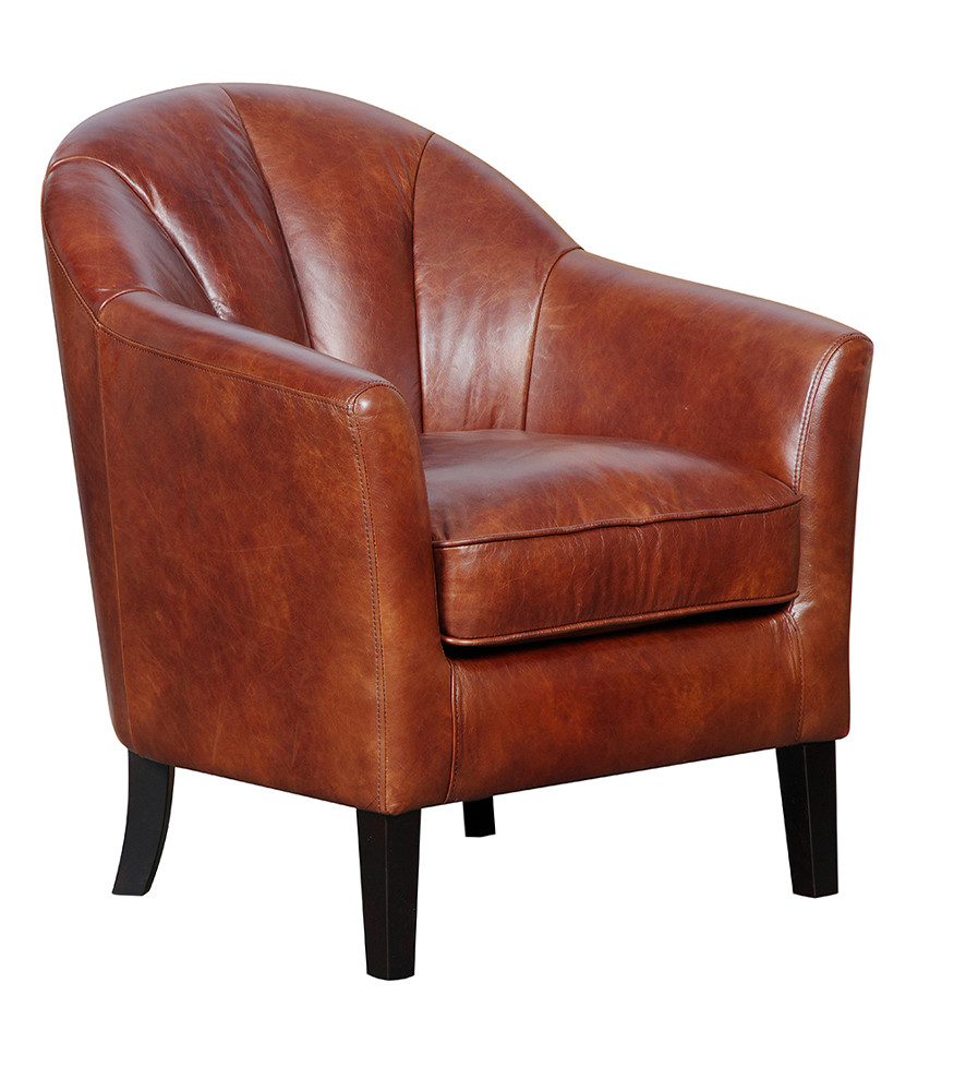 GFA Park Lane Accent Leather Chair For Sale