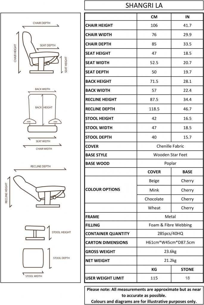 GFA Shangri La Swivel Recliner Chair