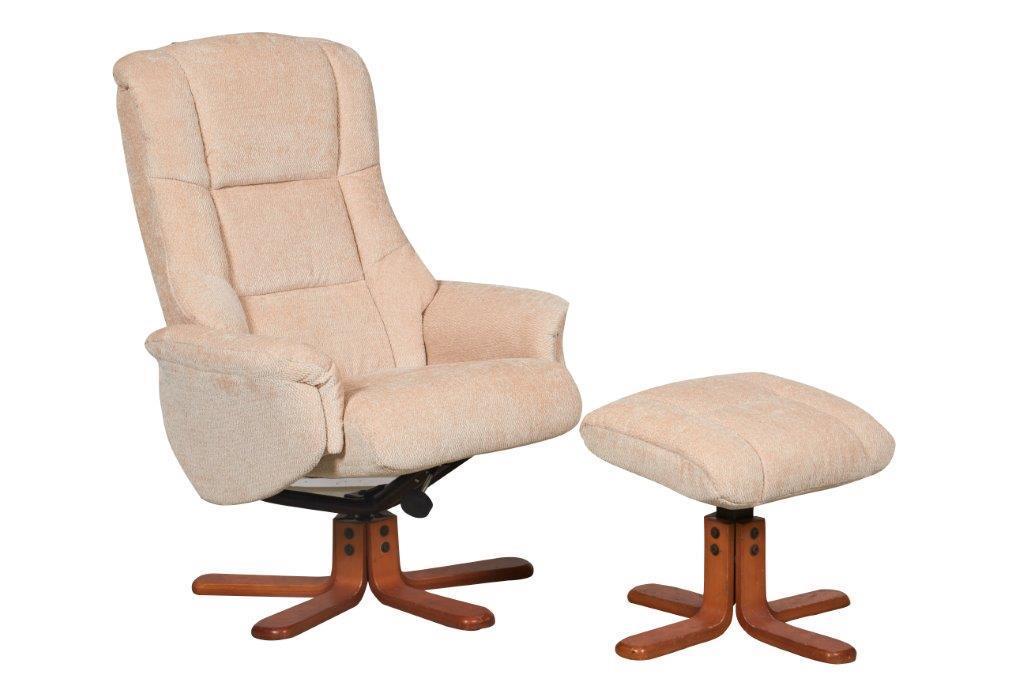 GFA Shangri La Chenille Fabric Swivel Reclining Chair Beige