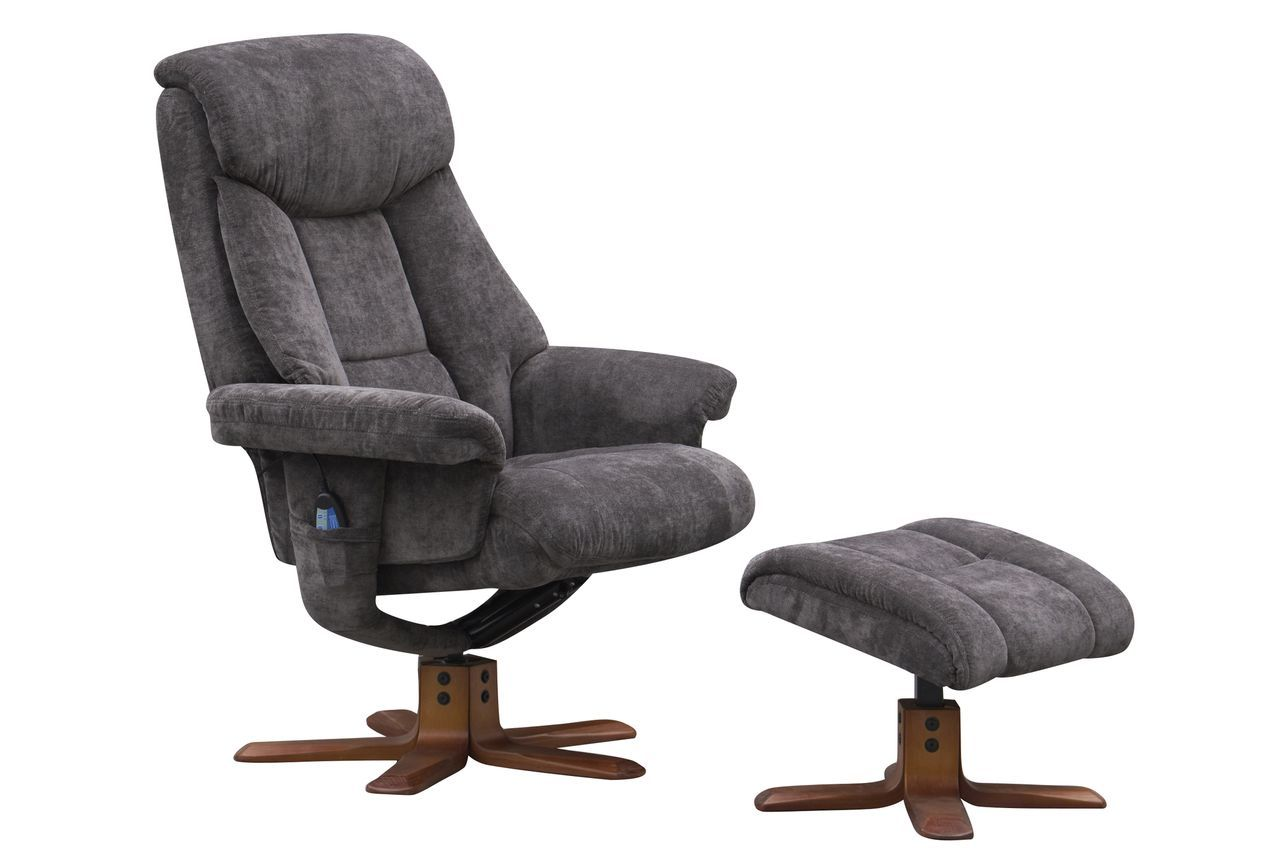 Gfa Exmouth Massage Fabric Swivel Recliner Chair Charcoal