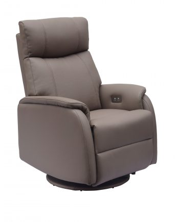 GFA Positano Electric Swivel Recliner Leather Chair Earth