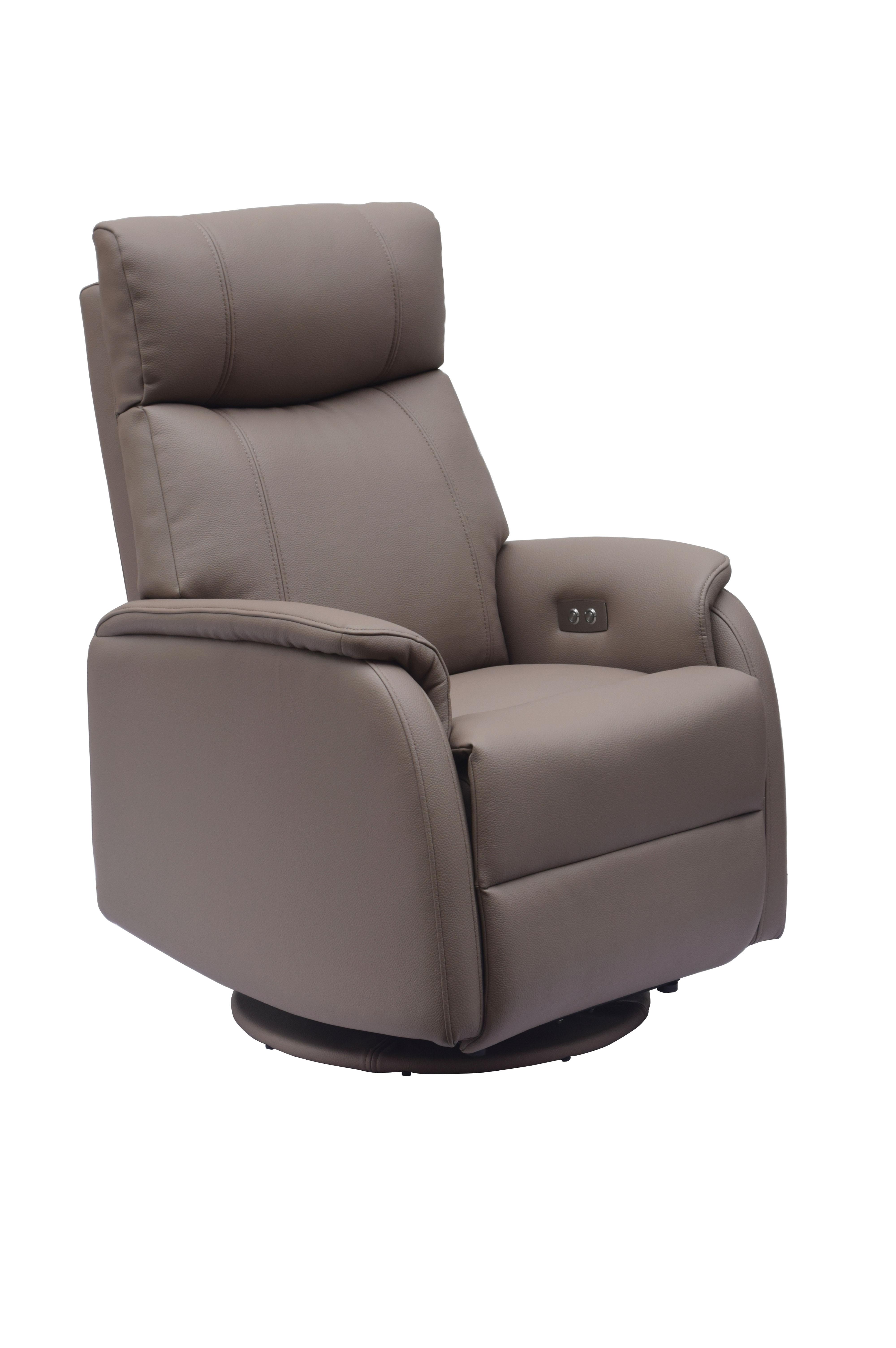 Gfa Positano Electric Swivel Leather Recliner Chair Earth