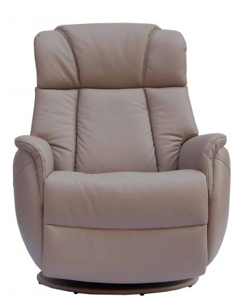 GFA Sorrento Electric Rock Swivel Recliner Leather Chair in Pebble Highgate Furniture
