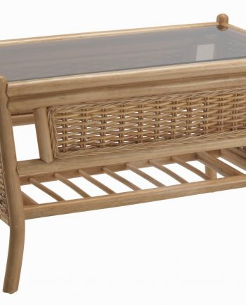 Desser Ascot Coffee Table Rattan Conservatory light Oak Southend-on-Sea Essex Highgate Matching furniture available Height 48cm Width 80cm Depth 48cm glass table top