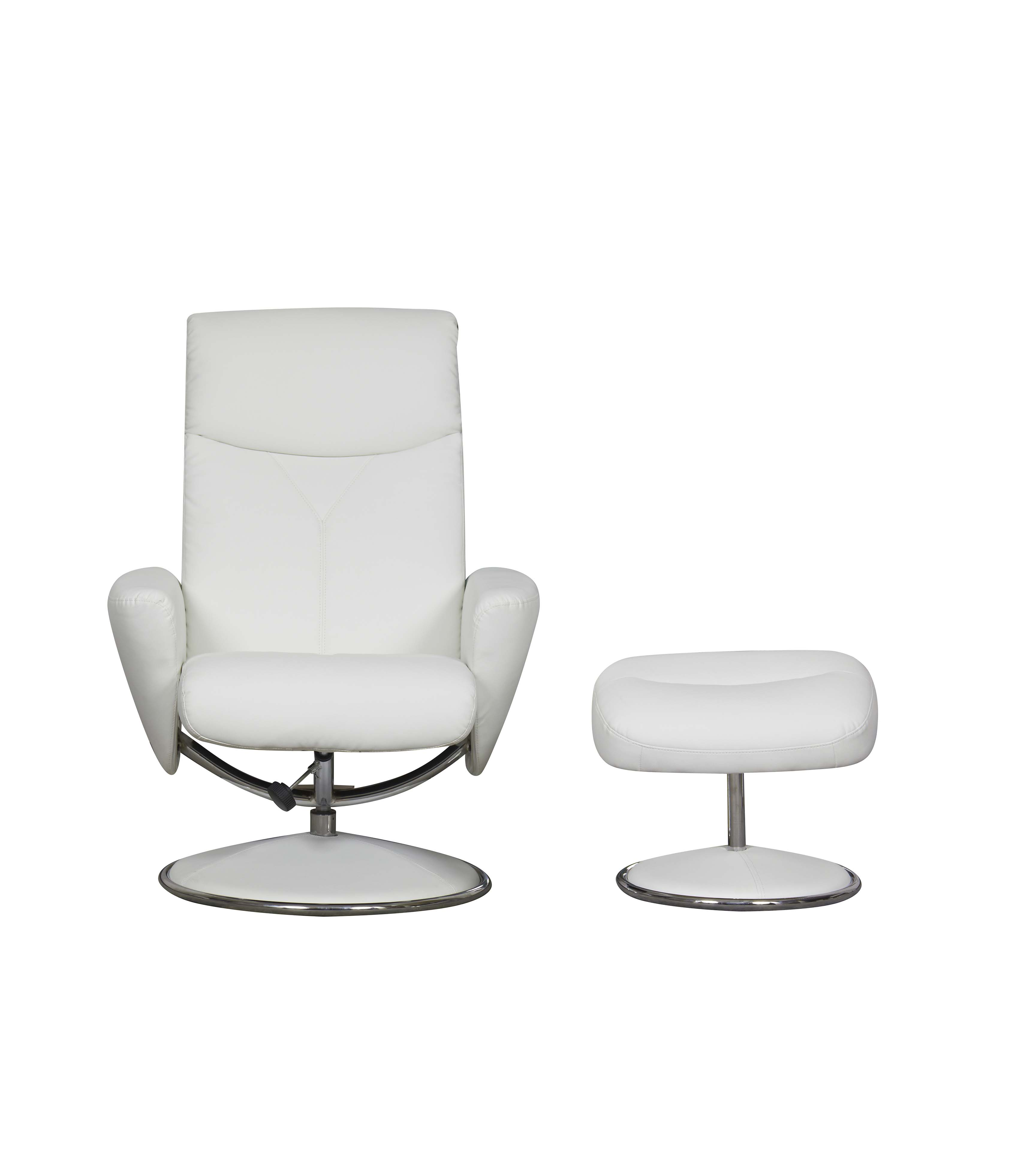 Gfa Amalfi Faux Swivel Reclining Chair White