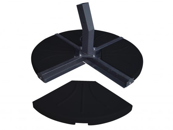 Norfolk Leisure 80KG four part cantilever parasol base for your cantilever parasol, comes in four sections each section weighs 20KGS has rounded edges and fits neatly into the cross base of your parasol. Available at Highgate furniture in Southend on sea Essex, please call 01702 414030 for any assistance