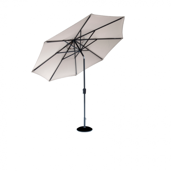Elizabeth Parasol 2.2 metres available in Mouse grey colour canopy and Powder coated aluminium frame with an anthracite colour frame, available at Highgate furniture Southend on sea Essex phone number 01702 414030