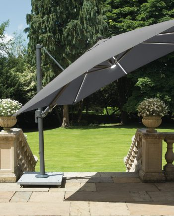 Norfolk Leisure stunning 3x3 metre Palermo cantilever Parasol on mouse Grey with LED lights built into the ribs of the parasol, please contact Highgate Furniture or visit our showroom in Southend on sea Essex or call us on 01702 414030 for any assistance.
