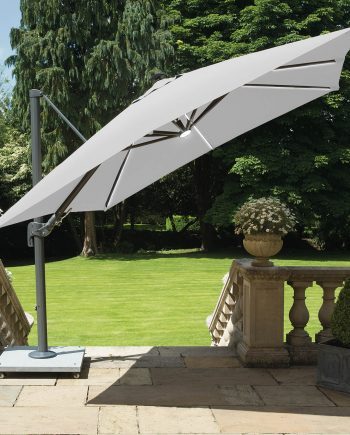 Life Palermo parasol with Led stripe lights open on sale at highgate furniture southend on sea