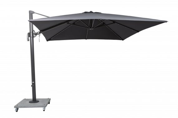 Palermo Square cantilever 3 x 3 metre parasol with strip lights available from Highgate furniture Southend on sea Essex phone 01702 414030