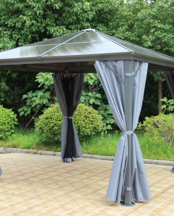 Norfolk Leisure Runcton 3 metre by 3 metre gazebo in anthracite grey included nets and curtains which can be zipped a strengthened aluminium frame in anthracite, please contact Highgate furniture we offer free anywhere in the UK. We are in Southend on sea Essex please call us on 01702 414030 for more in formation that you may require