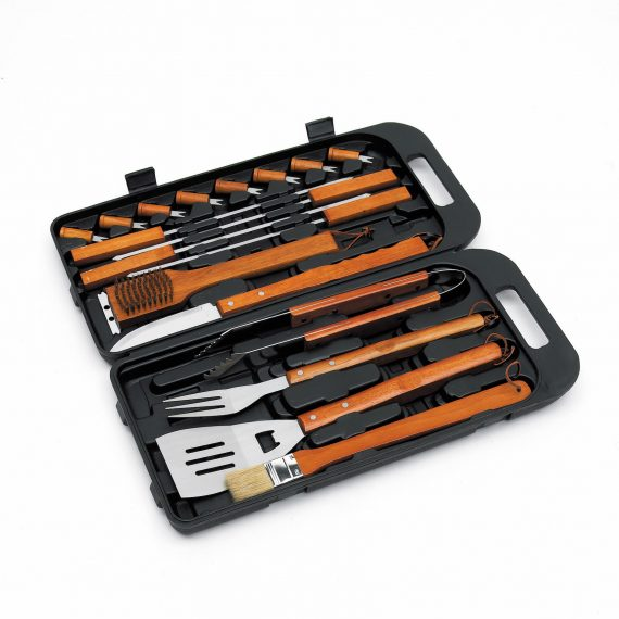 Landmann 18 piece bamboo tool set 13395 available from Highgate furniture. This i8 piece set is made from stainless steel and has heat insulating bamboo handles. You can purchase this set direct from the highgate furniture showroom in southend on sea Essex, or call us on 01702 414030 if you have any questions regarding this or any of our products, our number is 01702 414030.