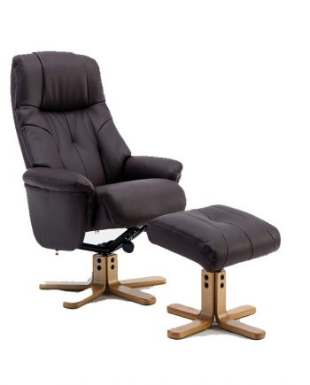 GFA Swivel Reclining Chair Leather Brown Sold at highgate Furniture Southend On sea Essex