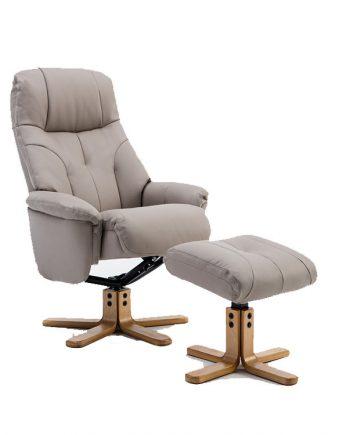 GFA Dubai Swivel reclining Leather Chair Pebble sold at Highgate Furniture Southend On Sea