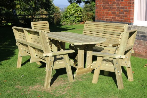 Highgate 8 Seater Table & Bench Set HG104 sold at Highgate Furniture Southend On sea