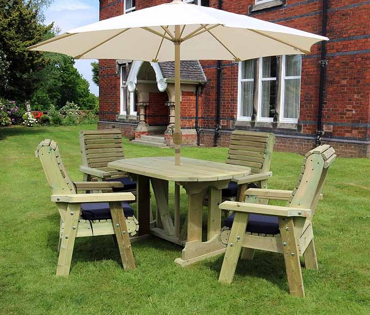 Pleasing Highgate 4 Seater Wooden Garden Furniture Table Set Hg101 Interior Design Ideas Inesswwsoteloinfo