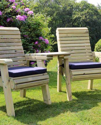 Highgate Wooden Ergonomic Love Seats & Tray