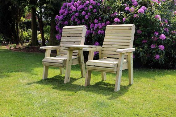 Highgate Wooden Love seats with Square Table, sold at Highgate Furniture Southend On sea