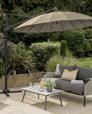 3m Geisha Cantilever Parasol Taupe Sold at Highgate Furniture
