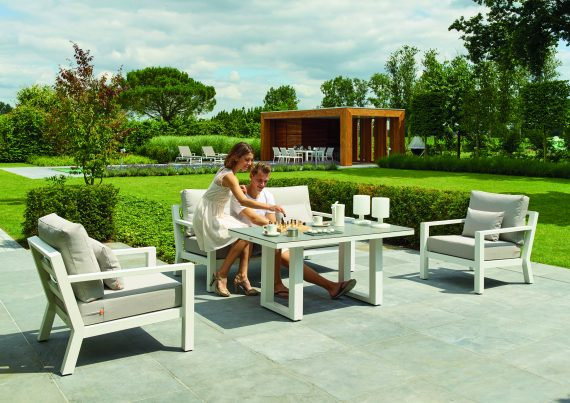 Life Timber Lounge garden Sofa Set White khaki Sold at highgate Furniture Southend On Sea Essex