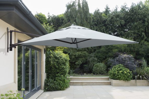 2m x 2m Wall Mounted Cantilever Parasol Grey Sold at Highgate Furniture Essex