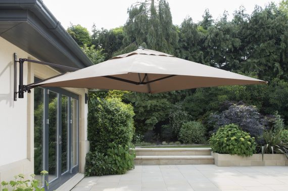 2x2 Wall Mounted Cantilever Parasol Taupe sold at Highgate Furniture Essex