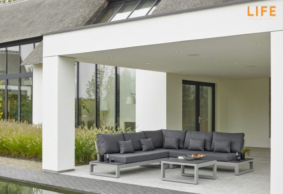 The Life Mallorca Garden furniture Lounge set is sleek, stunning and contemporary .It is on show at Highgate Furniture March 1st