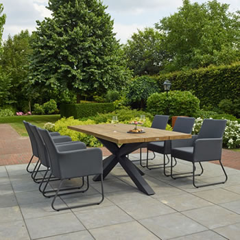 Life Blixum Teak dining garden Set on display in our showroom Southend On Sea Essex