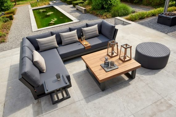 The Life Nevada Corner Dining Garden Set on display in our showroom Highgate Furniture Southend On sea Essex