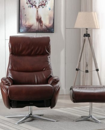 Dominican leather swivel chair conker brown