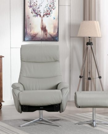 Dominican swivel grey leather
